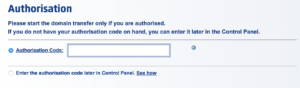 authorisation code
