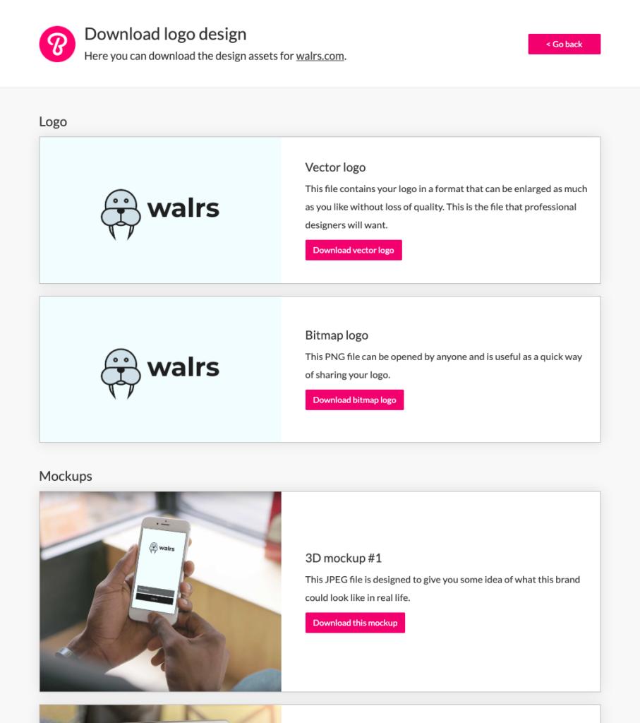 Downloading design assets on Brandpa