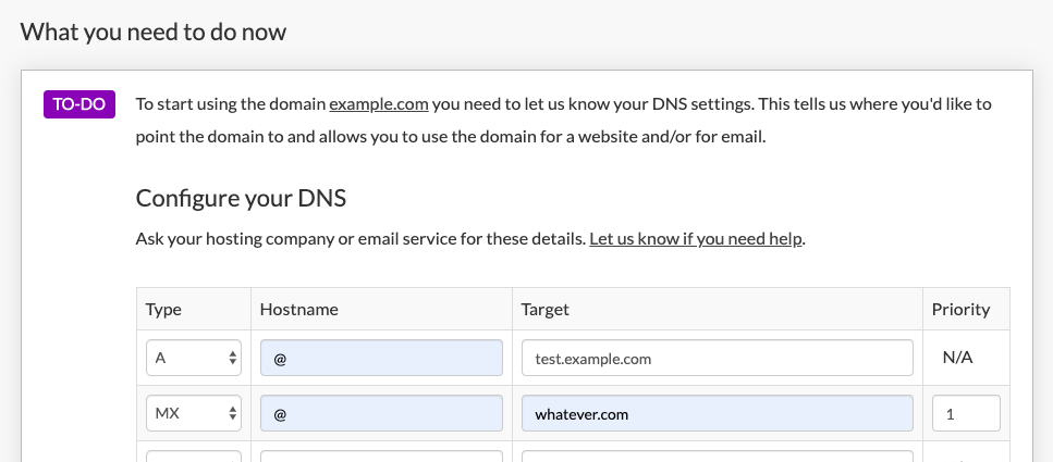Asking for DNS settings in Brandpa