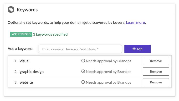 Setting keywords in Brandpa