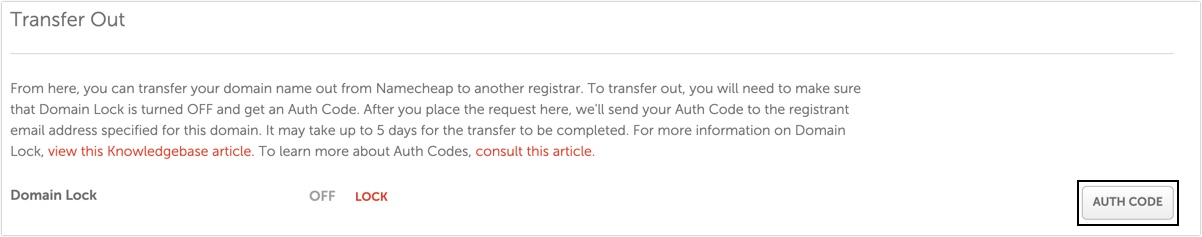 Authorisation code - Namecheap