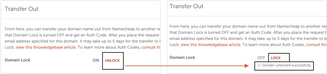 Namecheap Unlock Domain