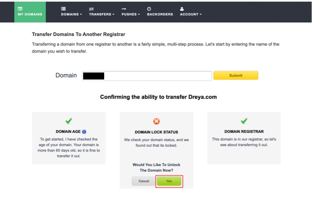 Remove domain lock